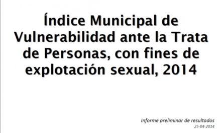 Índice Municipal de Vulnerabilidad ante la Trata de Personas, con fines de explotación sexual, 2014