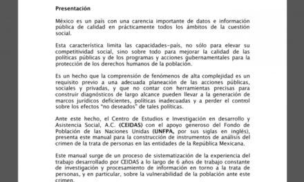 Manual para la construcción de instrumentos de análisis del crimen de la trata de personas en las entidades de la república.(2011)
