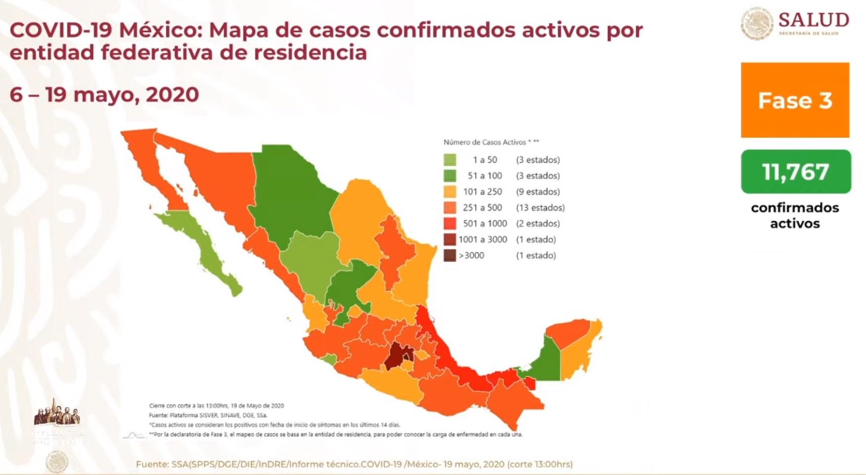 Mapa de casos confirmados activos