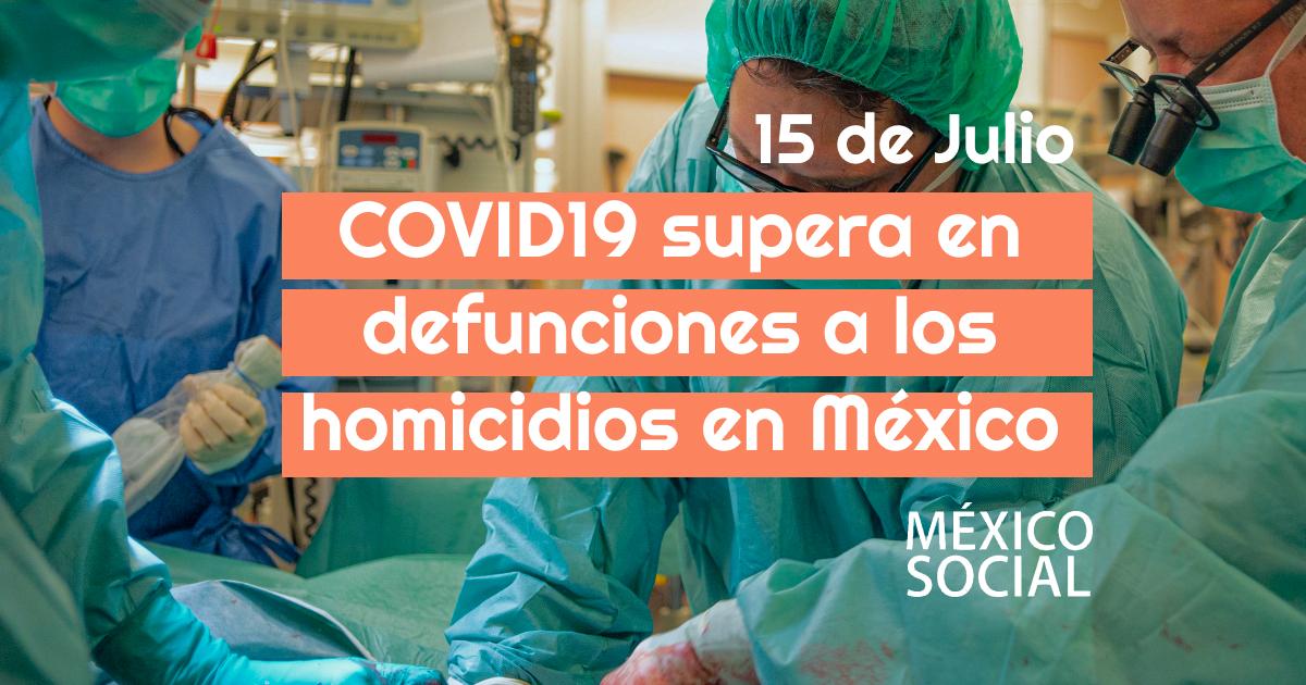 COVID19 mata más que la violencia; ya es la 4a causa de muerte en México