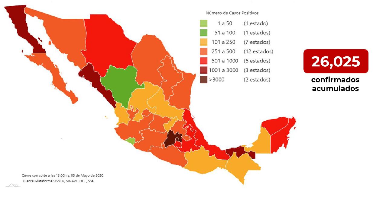 Mapa de casos confirmados 05-05-2020